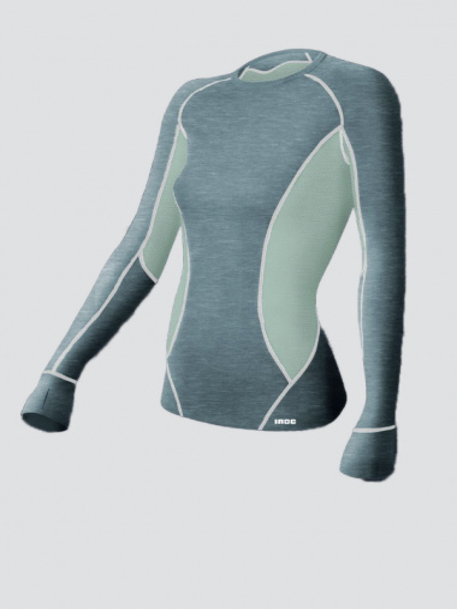 Comazo Funktionswäsche Shirt Damen grau-melange