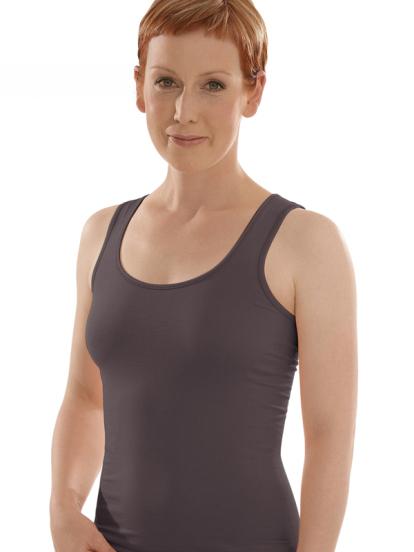 Comazo Biowäsche, Unterhemd Achselträger für Damen in anthrazit - Vorderansicht