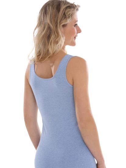 Comazo Biowäsche, Unterhemd Achselträger für Damen in blau-melange