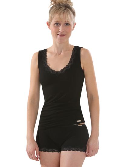 Comazo Biowäsche, Unterhemd für Damen in schwarz