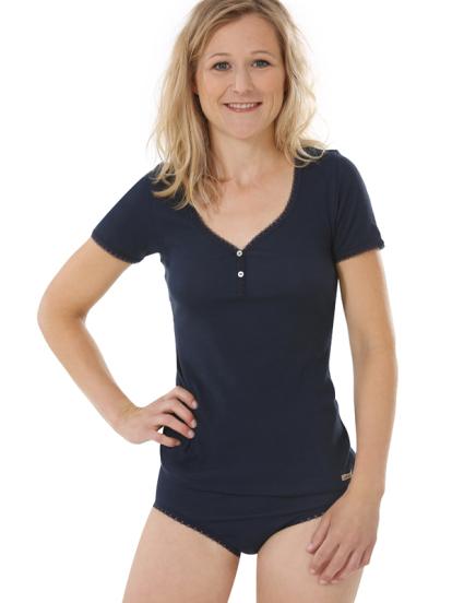 Comazo Biowäsche, kurzarm Shirt für Damen in marine - Gesamtansicht