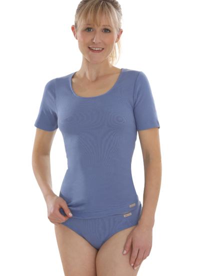 Comazo Biowäsche, kurzarm Shirt für Damen in jeansblau