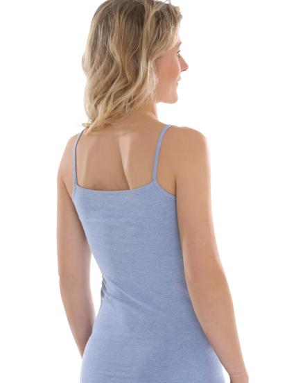 Comazo Biowäsche Spaghettiträger-Hemd für Damen in blau-melange