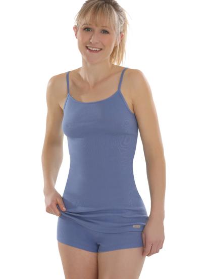 Comazo Lieblingswäsche, Spaghettiträger Unterhemd für Damen in jeansblau