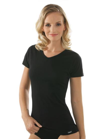 Comazo Unterwäsche, Kurzarm Shirt für Damen in schwarz - Vorderansicht