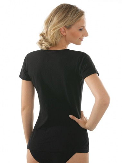 Comazo Unterwäsche, Kurzarm Shirt für Damen in schwarz - Rückansicht