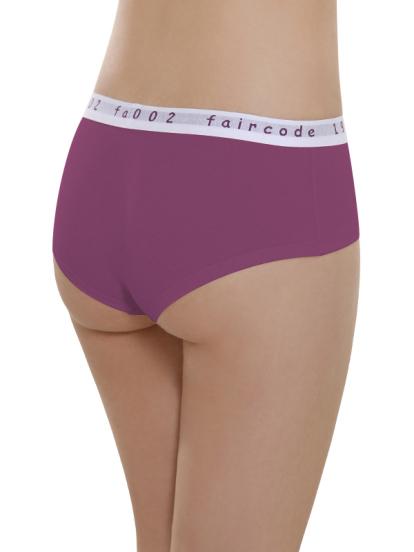 Comazo Biowäsche, Hot Pants low cut für Damen in plum - Rückansicht