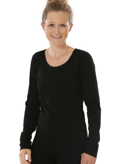 Comazo Biowäsche, Langarm Shirt für Damen in schwarz - Vorderansicht