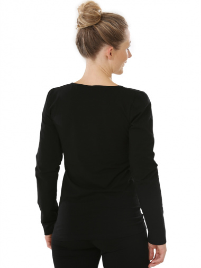 Comazo Biowäsche, Langarm Shirt für Damen in schwarz - Rückansicht