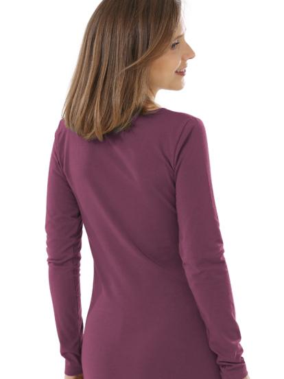 Comazo Biowäsche, Langarm Shirt für Damen in brombeer - Rückansicht