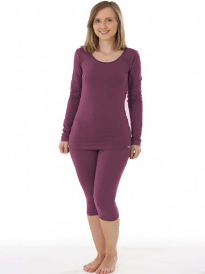 Comazo Biowäsche, Langarm Shirt für Damen in brombeer - Gesamtansicht