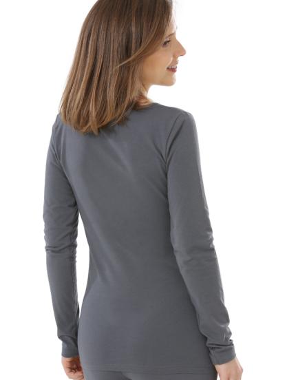 Comazo Biowäsche, Langarm Shirt für Damen in anthrazit - Rückansicht