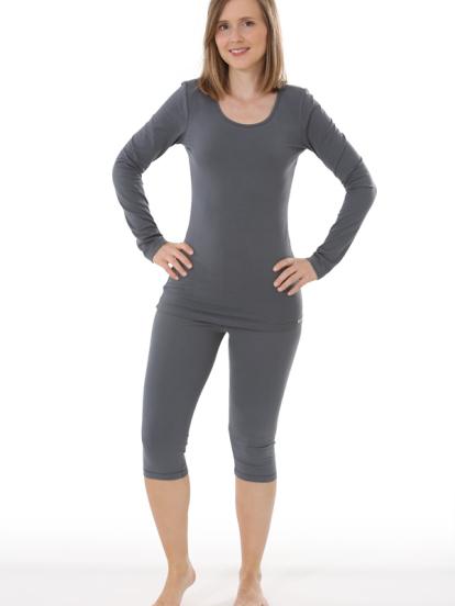 Comazo Biowäsche, Langarm Shirt für Damen in anthrazit - Gesamtansicht