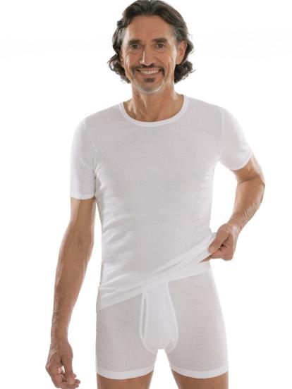 comazo|platin Unterwäsche, Unterhemd kurzarm in weiss - Gesamtansicht