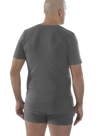 Comazo Biowäsche,Shirt mit V-Ausschnitt in anthrazit - Rückansicht