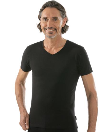 comazo|black Unterwäsche, Kurzarm Shirt in schwarz - Vorderansicht