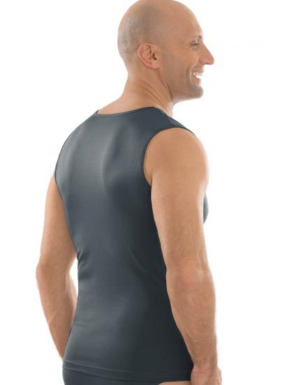 Comazo Unterwäsche, Shirt ohne Arm in anthrazit - Rückansicht