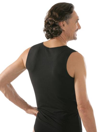 comazo black Unterwäsche, Shirt ohne Arm in schwarz - Rückansicht