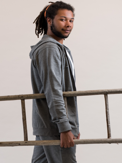 Comazo Lieblingswäsche Herren Homewear Jacke mit Kapuze in grau-melange