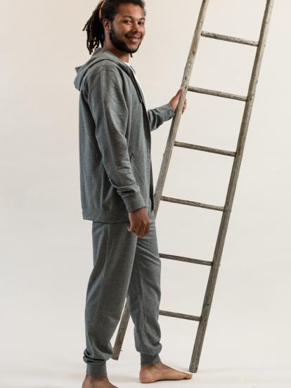 Comazo Lieblingswäsche Herren Homewear lange Hose in grau-melange