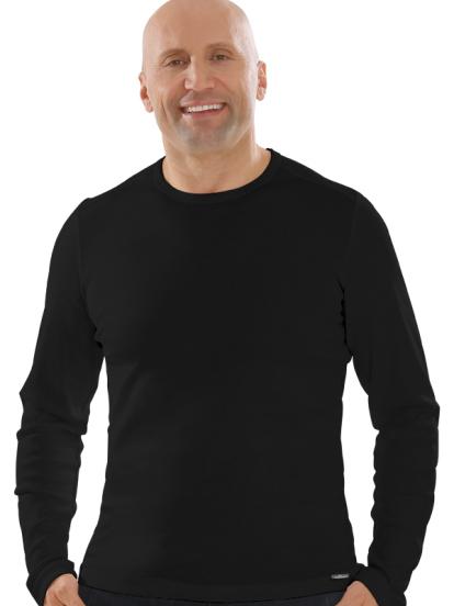 Comazo Lieblingswäsche, Basic Shirt für Herren langarm in Baumwolle in schwarz