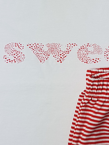Nachtwäsche Mädchen Pyjama Sweet weiss/rot