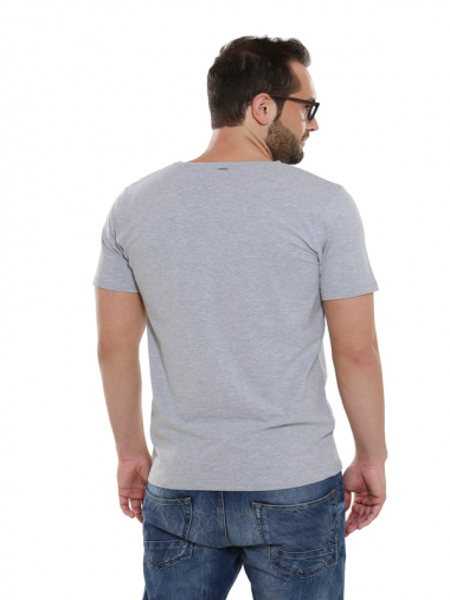 Comazo Lieblingswäsche Basic Shirt, grau-melange- Rückansicht