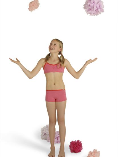 Comazo Biowäsche, Bustier für Mädchen, tomate geringelt - Rückansicht